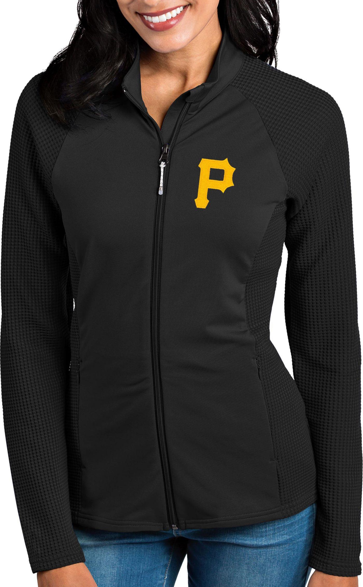Antigua Women's Pittsburgh Pirates Black Sonar Performance Quarter-Zip Pullover