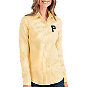 Antigua Women's Pittsburgh Pirates Structure Button-Up Gold Long Sleeve Shirt