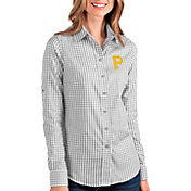 Antigua Women's Pittsburgh Pirates Structure Button-Up Grey Long Sleeve Shirt