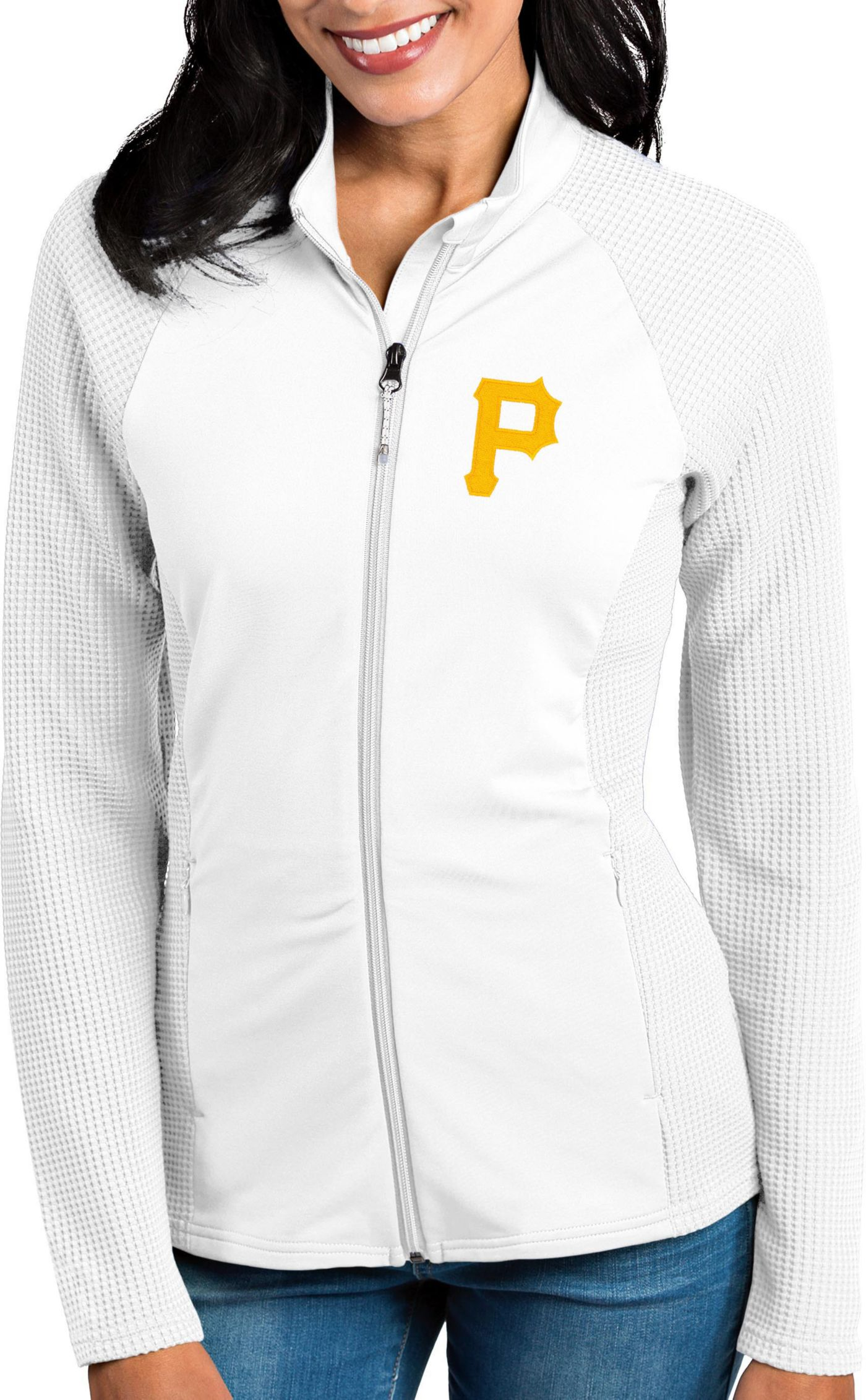 Antigua Women's Pittsburgh Pirates White Sonar Performance Quarter-Zip Pullover