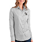 Antigua Women's Colorado Rockies Structure Button-Up Grey Long Sleeve Shirt