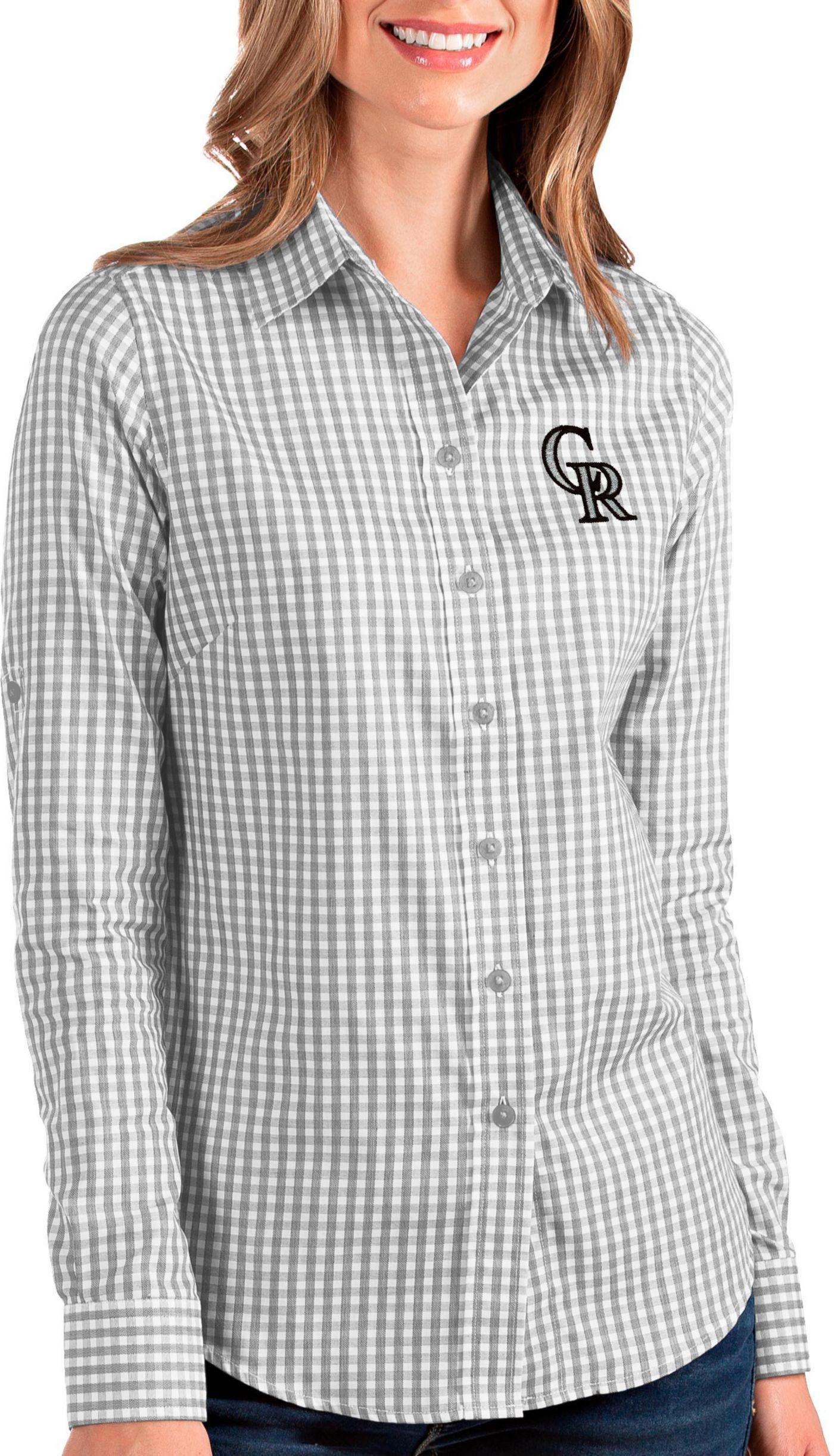 Antigua Women's Colorado Rockies Structure Button-Up Grey Long Sleeve Shirt