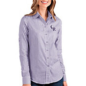 Antigua Women's Colorado Rockies Structure Button-Up Purple Long Sleeve Shirt