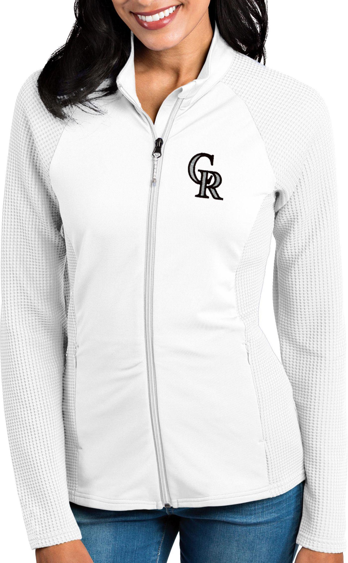 Antigua Women's Colorado Rockies White Sonar Performance Quarter-Zip Pullover