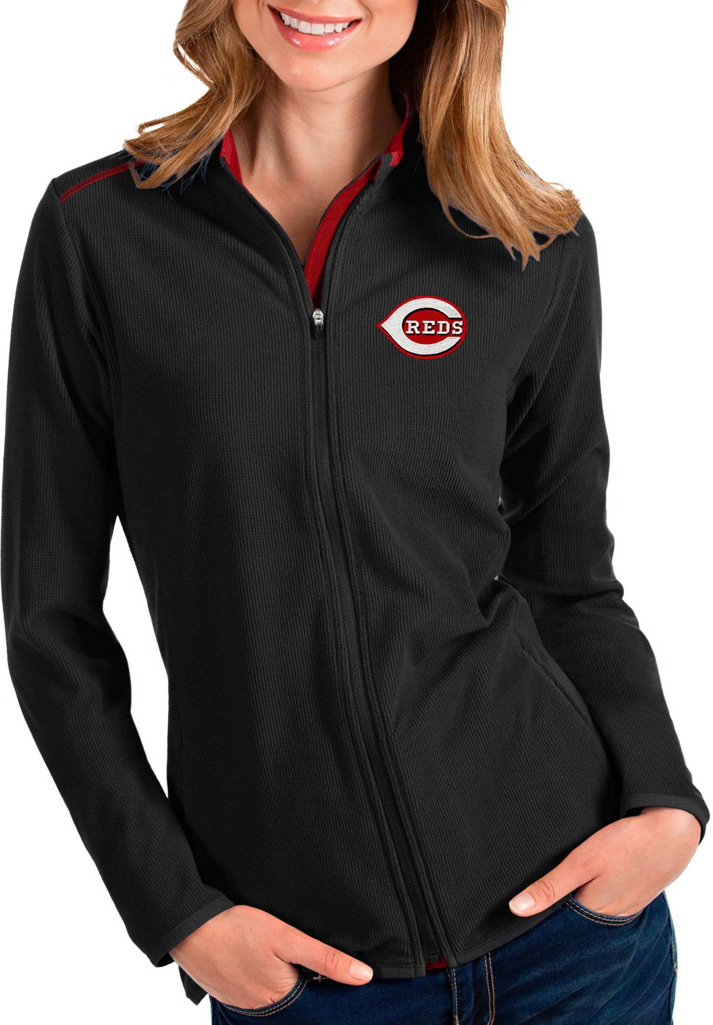Antigua Women's Cincinnati Reds Black Glacier Quarter-Zip Pullover