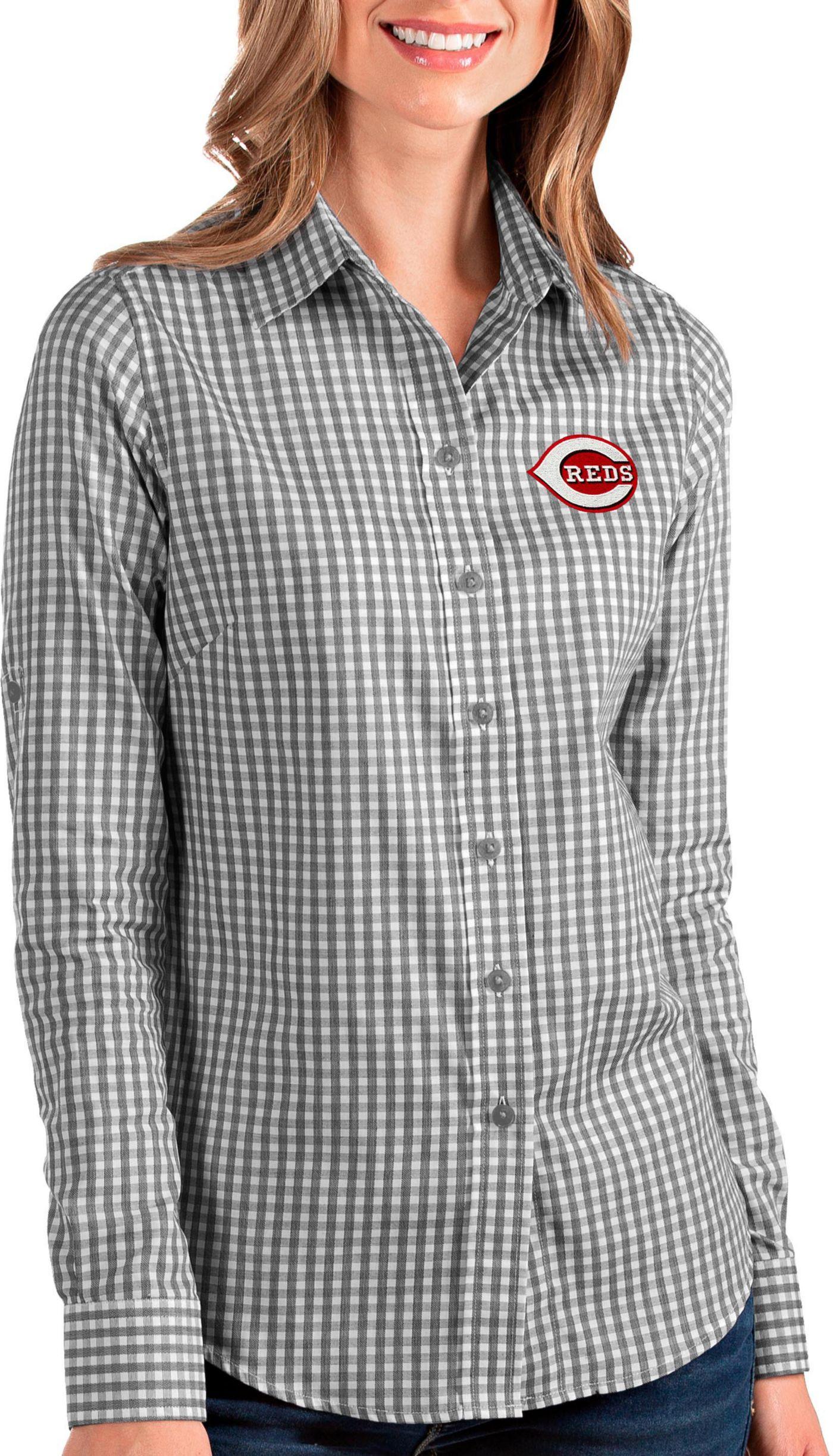Antigua Women's Cincinnati Reds Structure Button-Up Black Long Sleeve Shirt