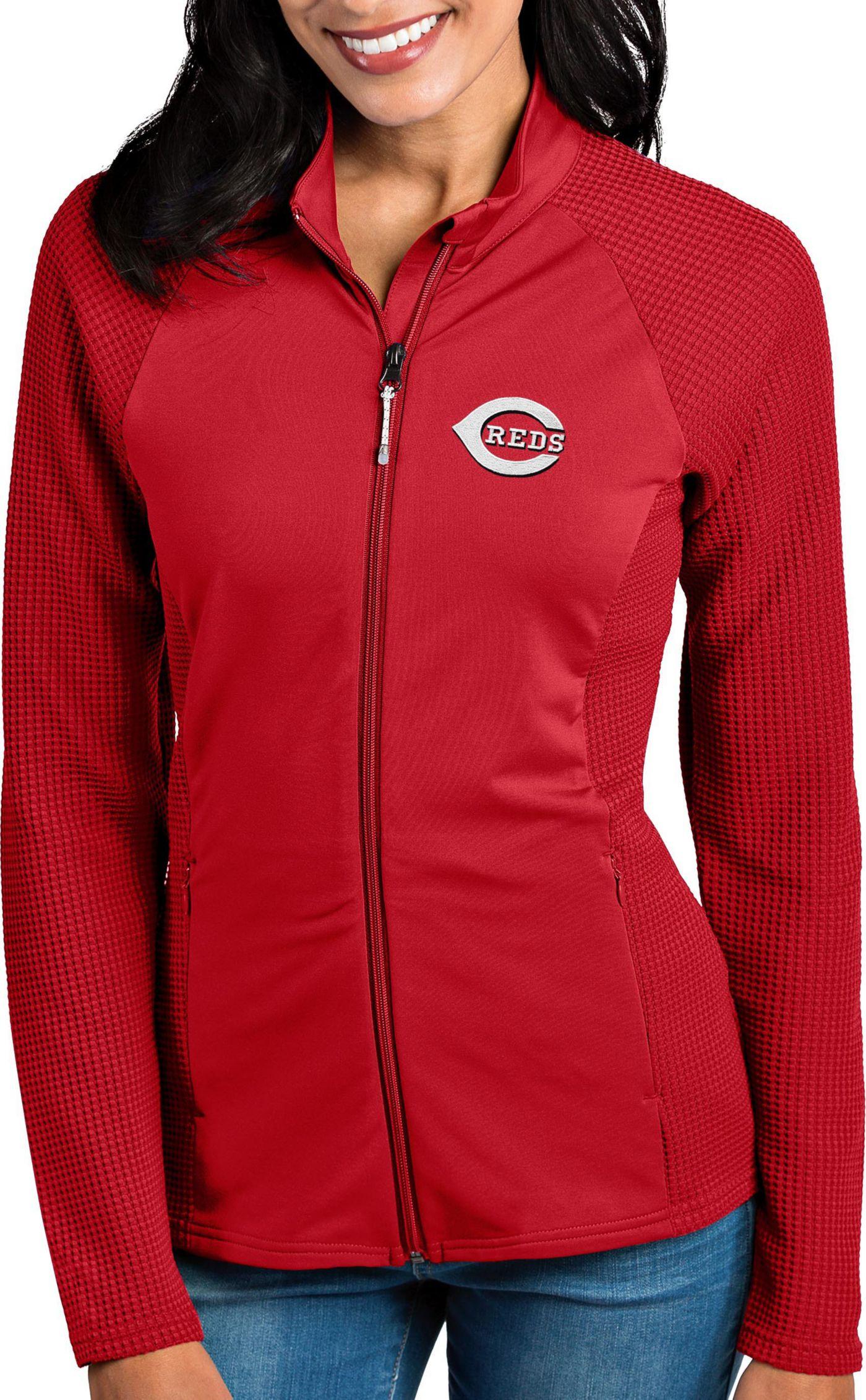 Antigua Women's Cincinnati Reds Red Sonar Performance Quarter-Zip Pullover