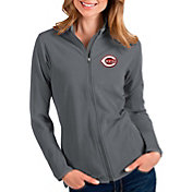 Antigua Women's Cincinnati Reds Grey Glacier Full-Zip Jacket