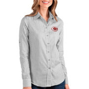 Antigua Women's Cincinnati Reds Structure Button-Up Grey Long Sleeve Shirt