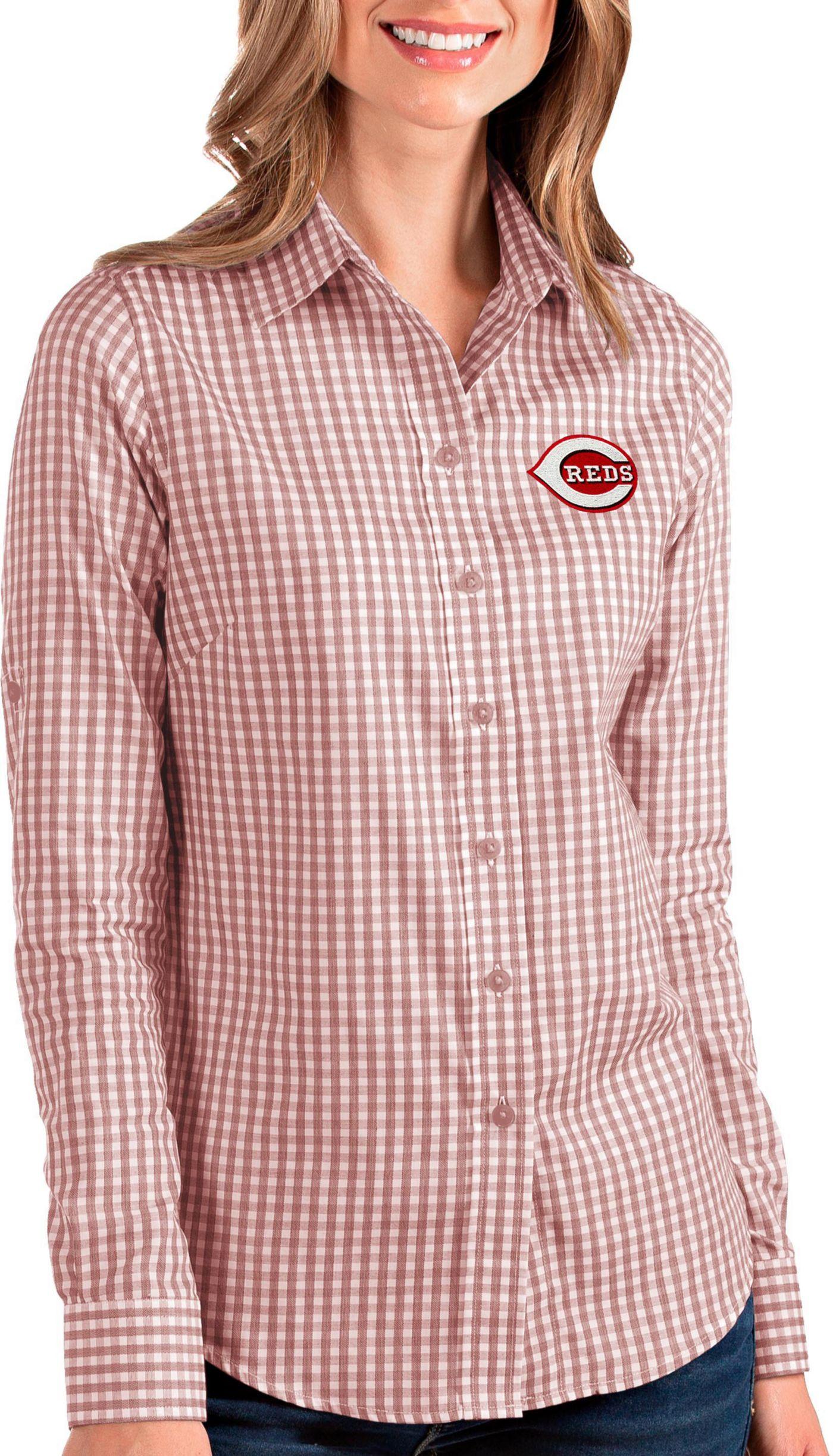 Antigua Women's Cincinnati Reds Structure Button-Up Red Long Sleeve Shirt