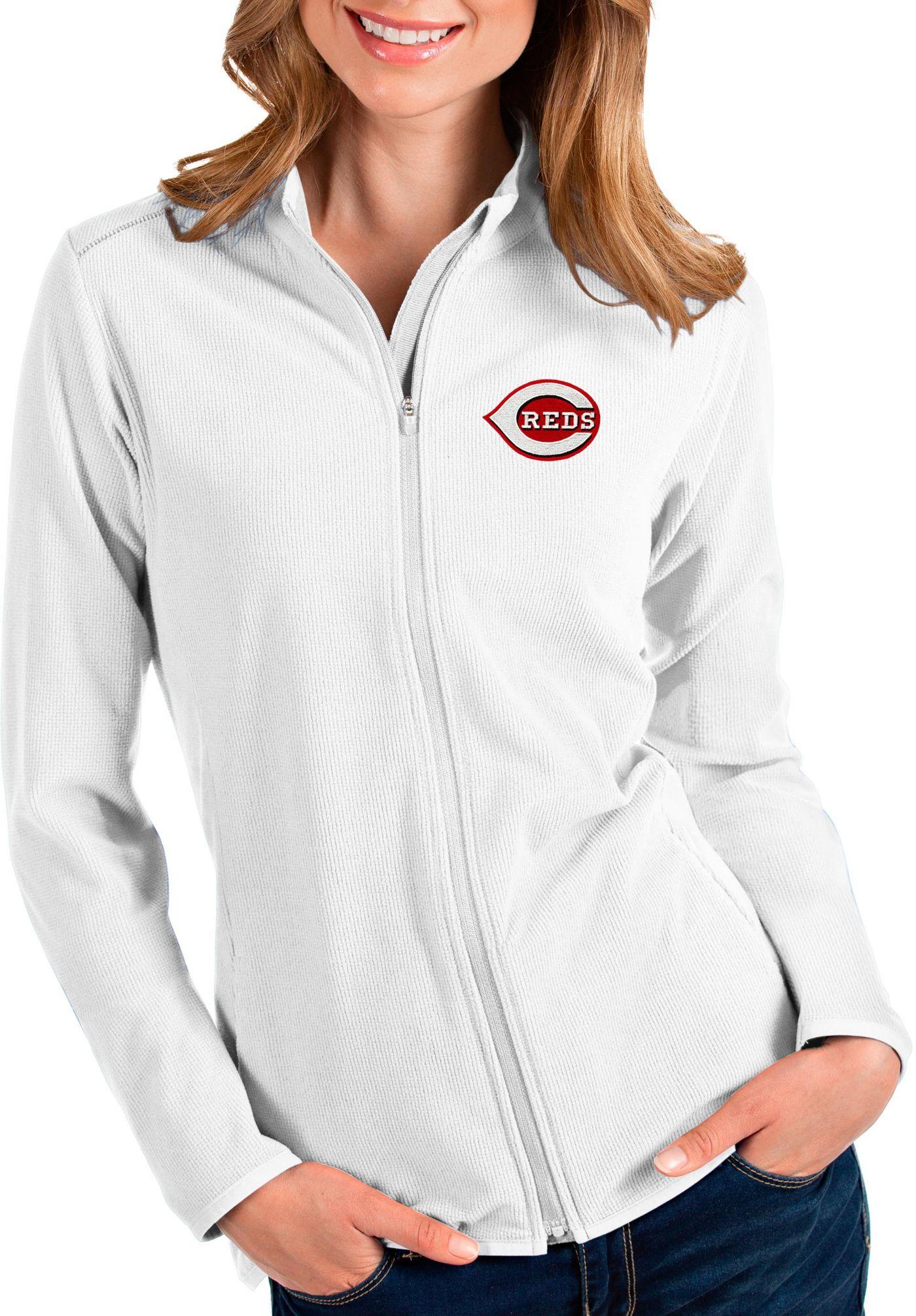 Antigua Women's Cincinnati Reds White Glacier Quarter-Zip Pullover
