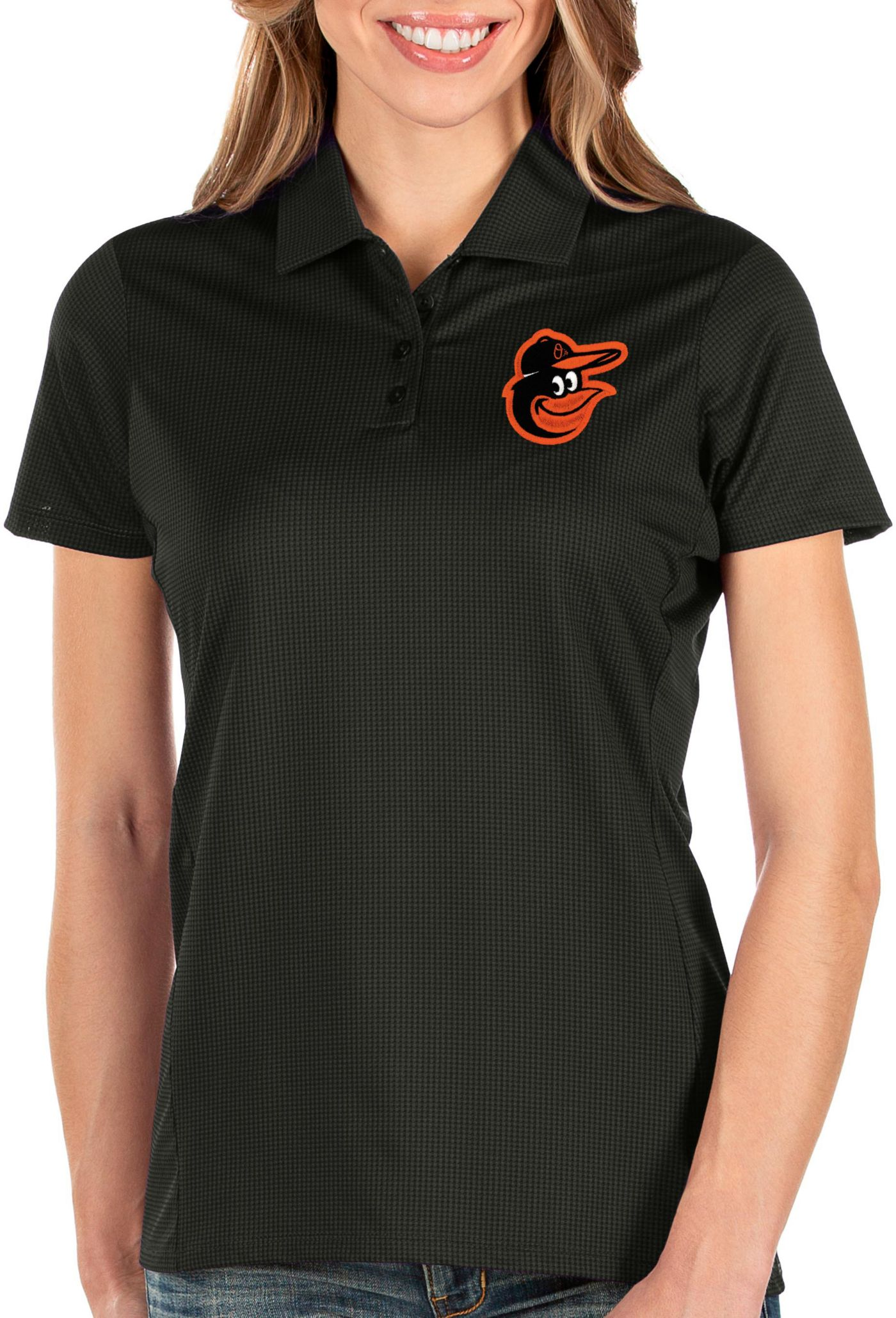 Antigua Women's Baltimore Orioles Black Balance Polo