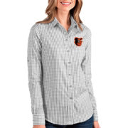 Antigua Women's Baltimore Orioles Structure Button-Up Grey Long Sleeve Shirt