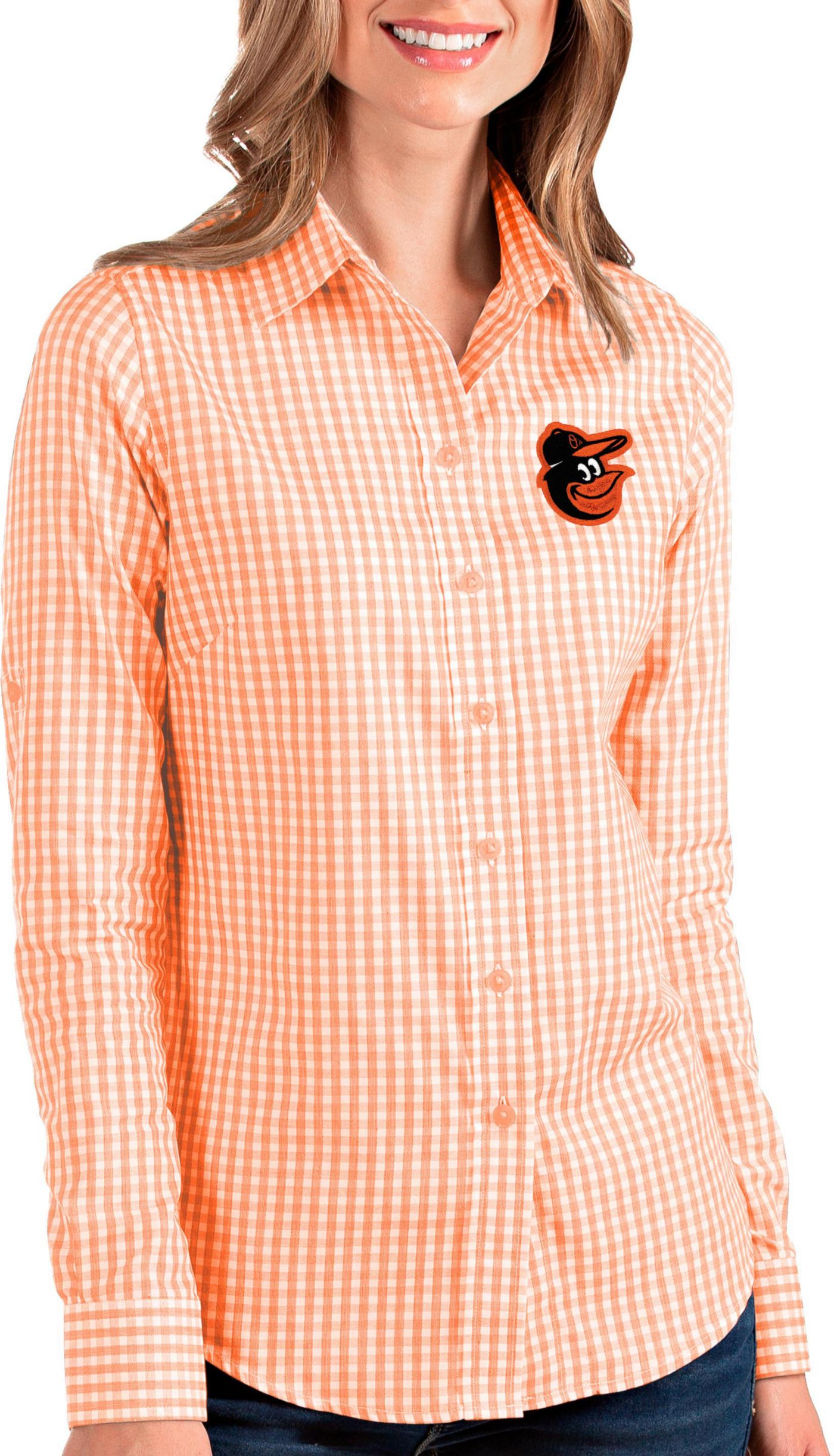 Antigua Women's Baltimore Orioles Structure Button-Up Orange Long Sleeve Shirt