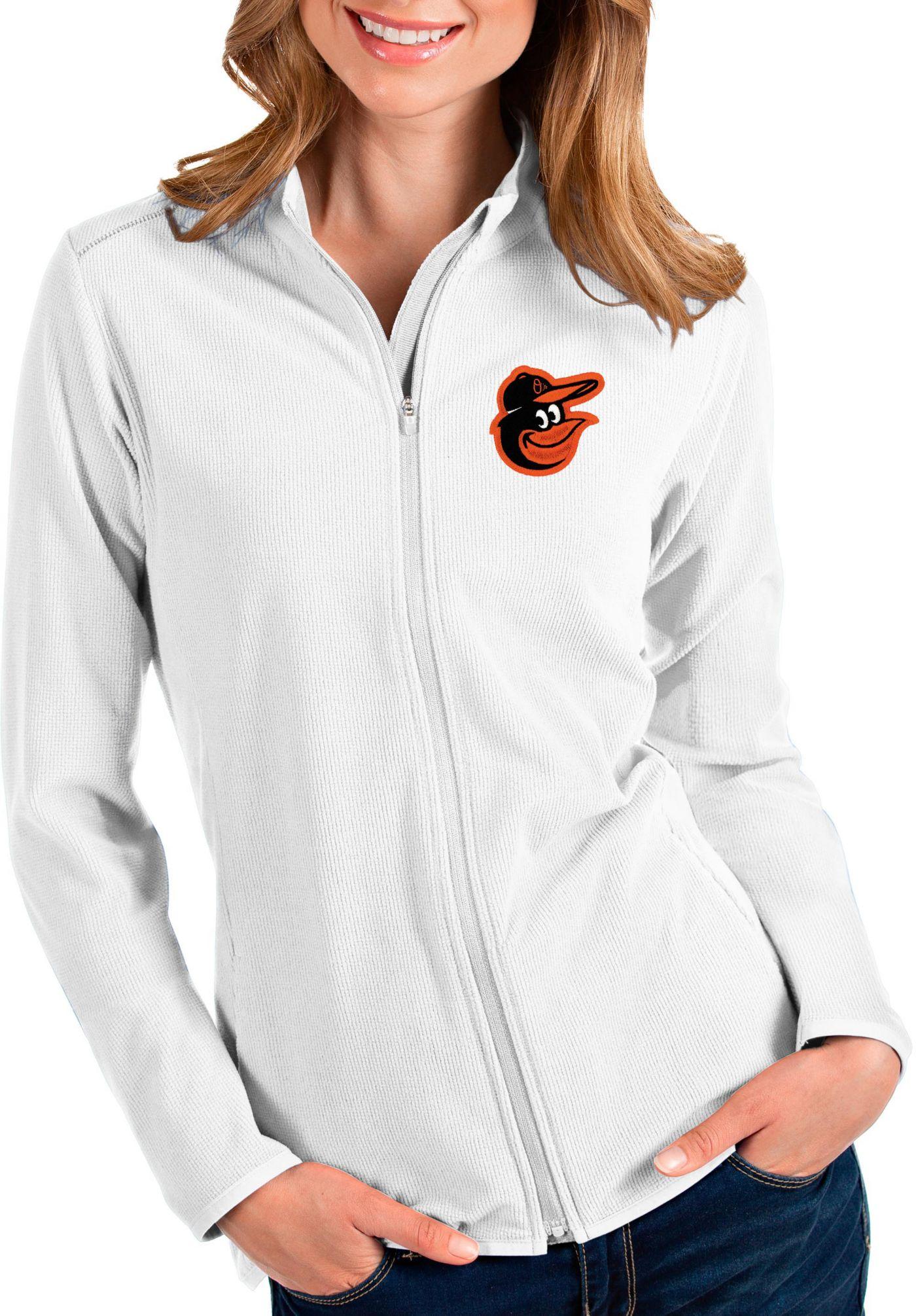 Antigua Women's Baltimore Orioles White Glacier Full-Zip Jacket
