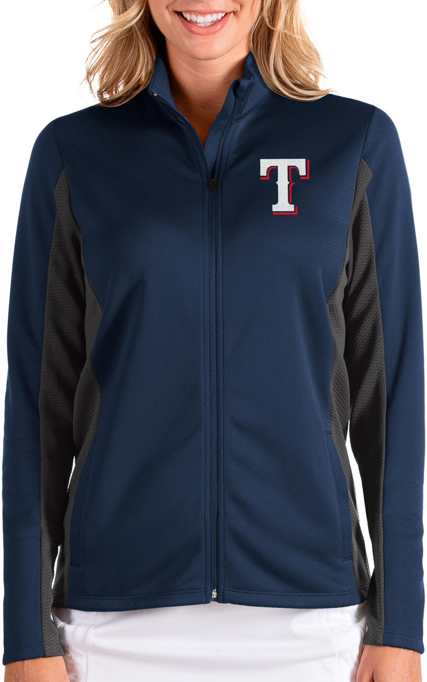 Antigua Women's Texas Rangers Navy Passage Full-Zip Jacket