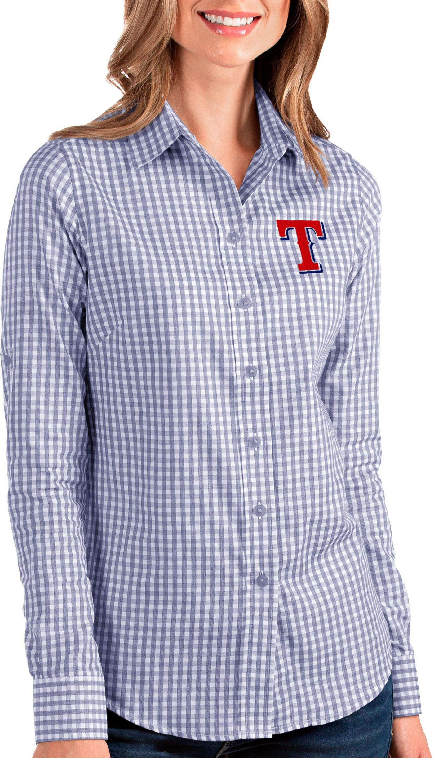 Antigua Women's Texas Rangers Structure Button-Up Royal Long Sleeve Shirt