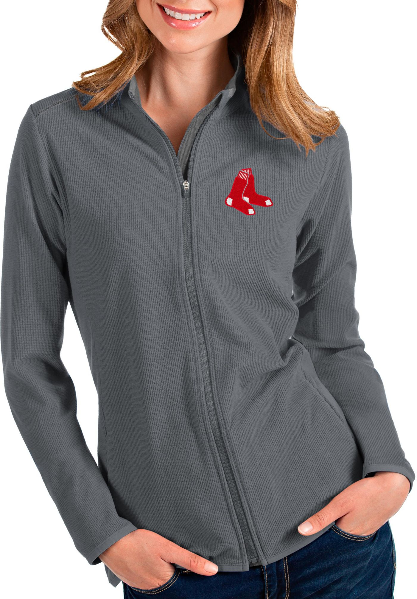Antigua Women's Boston Red Sox Grey Glacier Quarter-Zip Pullover