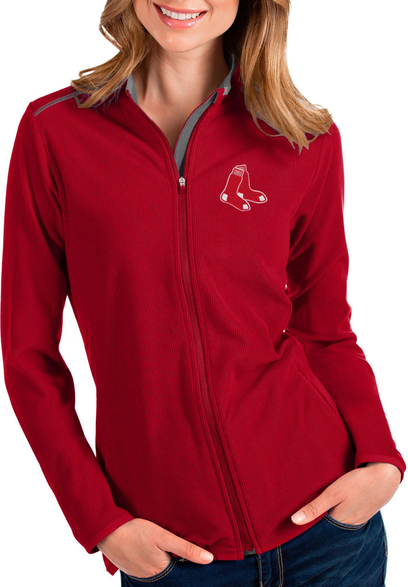 Antigua Women's Boston Red Sox Red Glacier Quarter-Zip Pullover