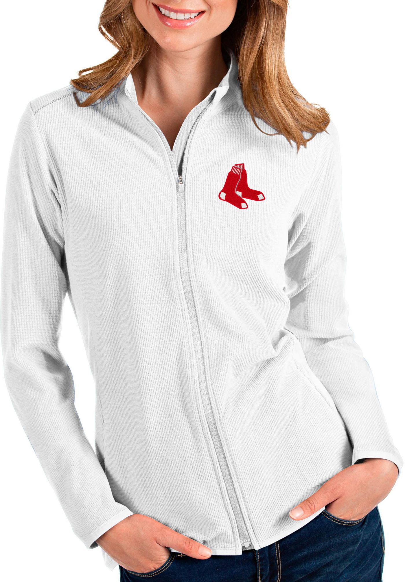 Antigua Women's Boston Red Sox White Glacier Full-Zip Jacket