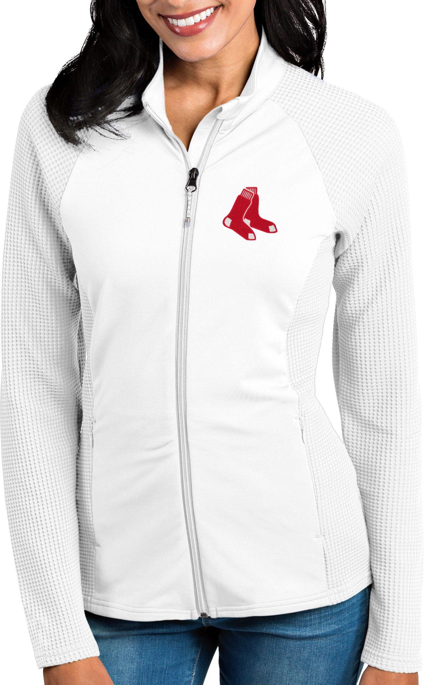 Antigua Women's Boston Red Sox White Sonar Performance Quarter-Zip Pullover