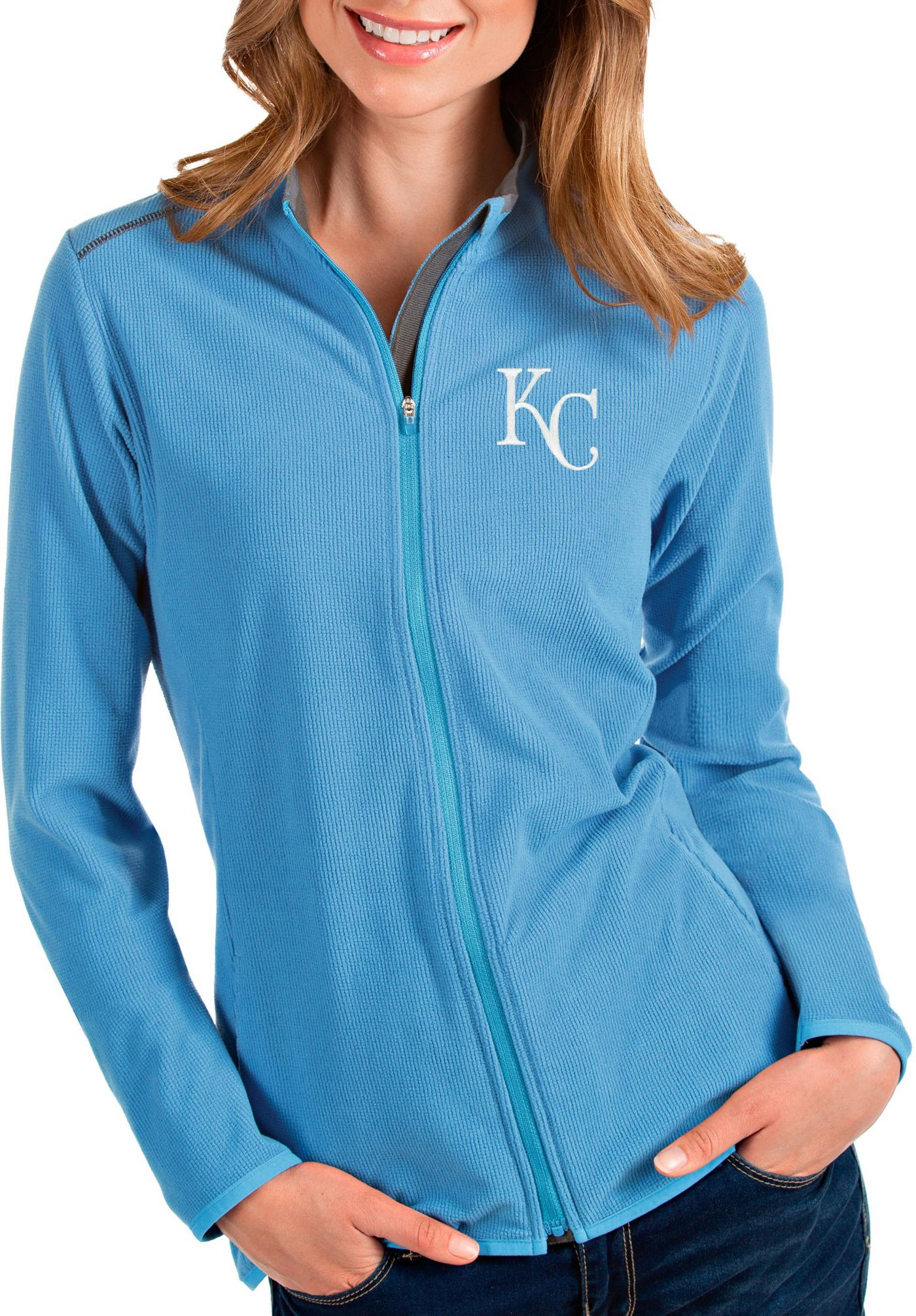 Antigua Women's Kansas City Royals Royal Glacier Quarter-Zip Pullover