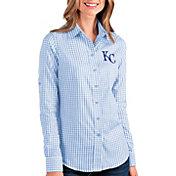 Antigua Women's Kansas City Royals Structure Button-Up Blue Long Sleeve Shirt