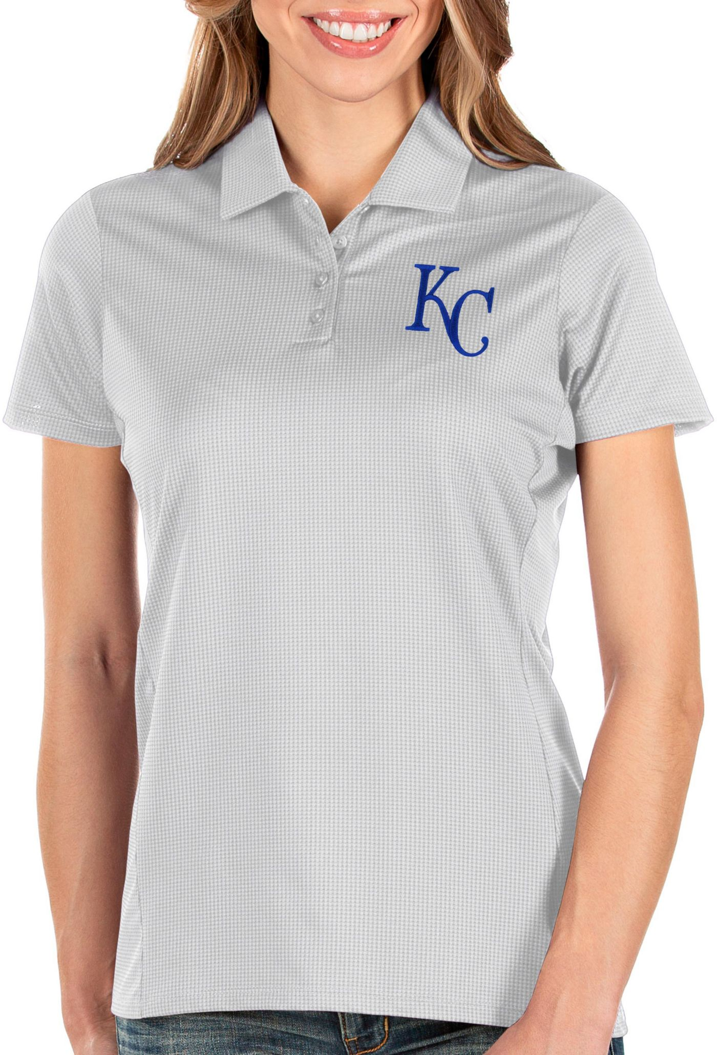 Antigua Women's Kansas City Royals White Balance Polo