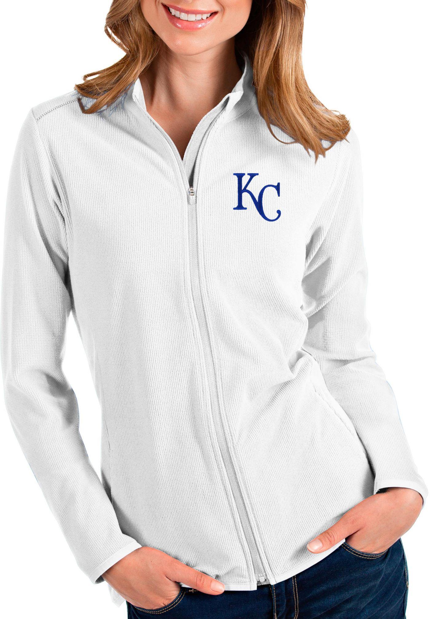 Antigua Women's Kansas City Royals White Glacier Quarter-Zip Pullover