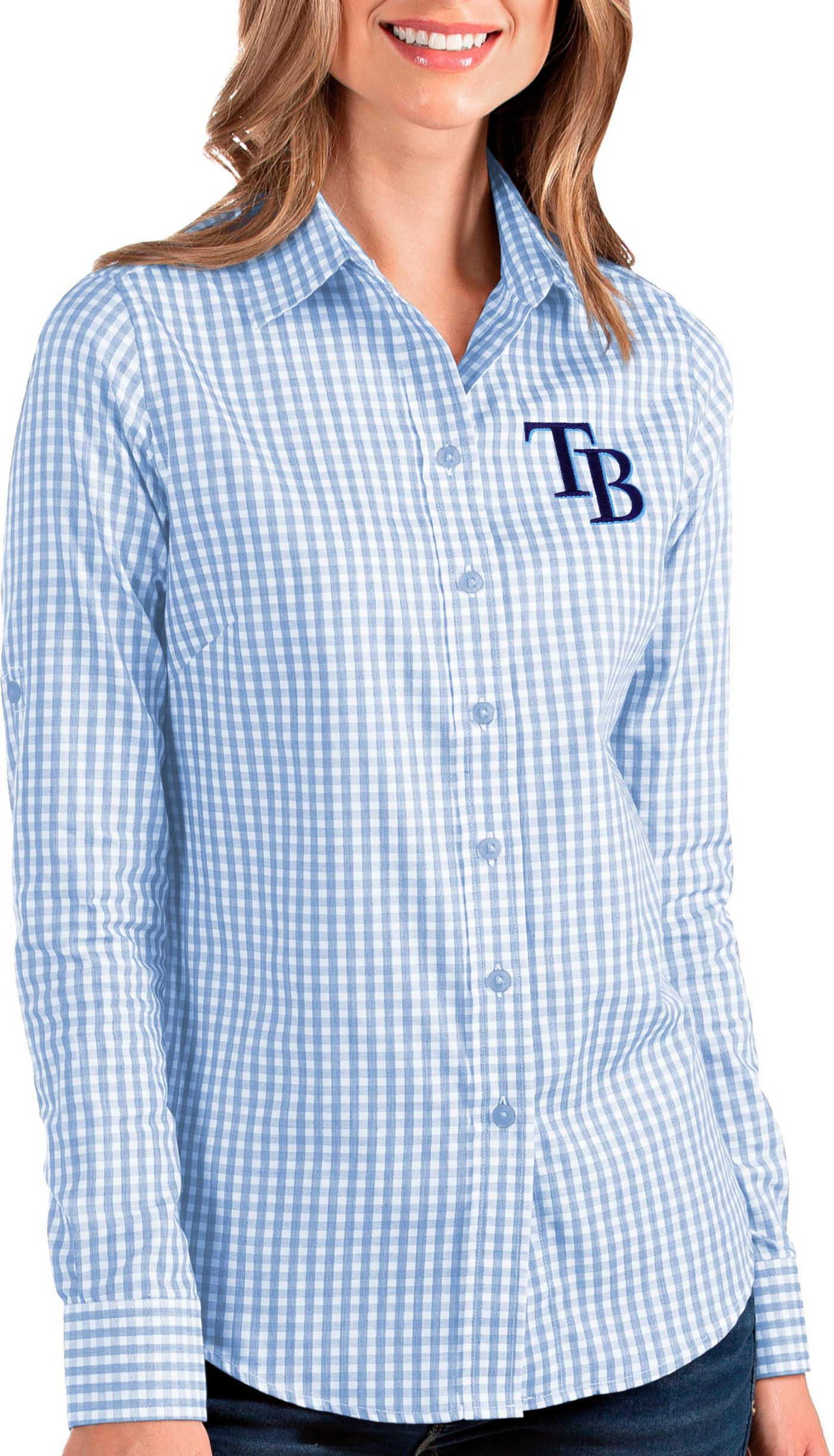 Antigua Women's Tampa Bay Rays Structure Button-Up Blue Long Sleeve Shirt