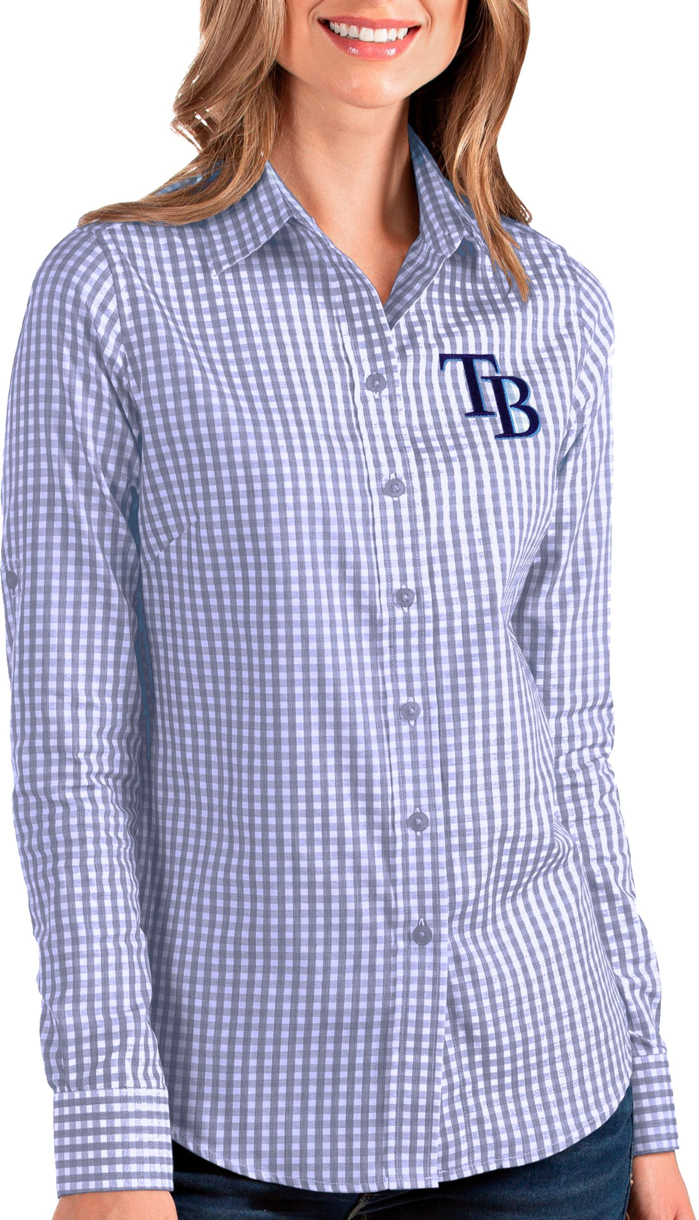 Antigua Women's Tampa Bay Rays Structure Button-Up Royal Long Sleeve Shirt