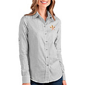 Antigua Women's Houston Astros Structure Button-Up Grey Long Sleeve Shirt