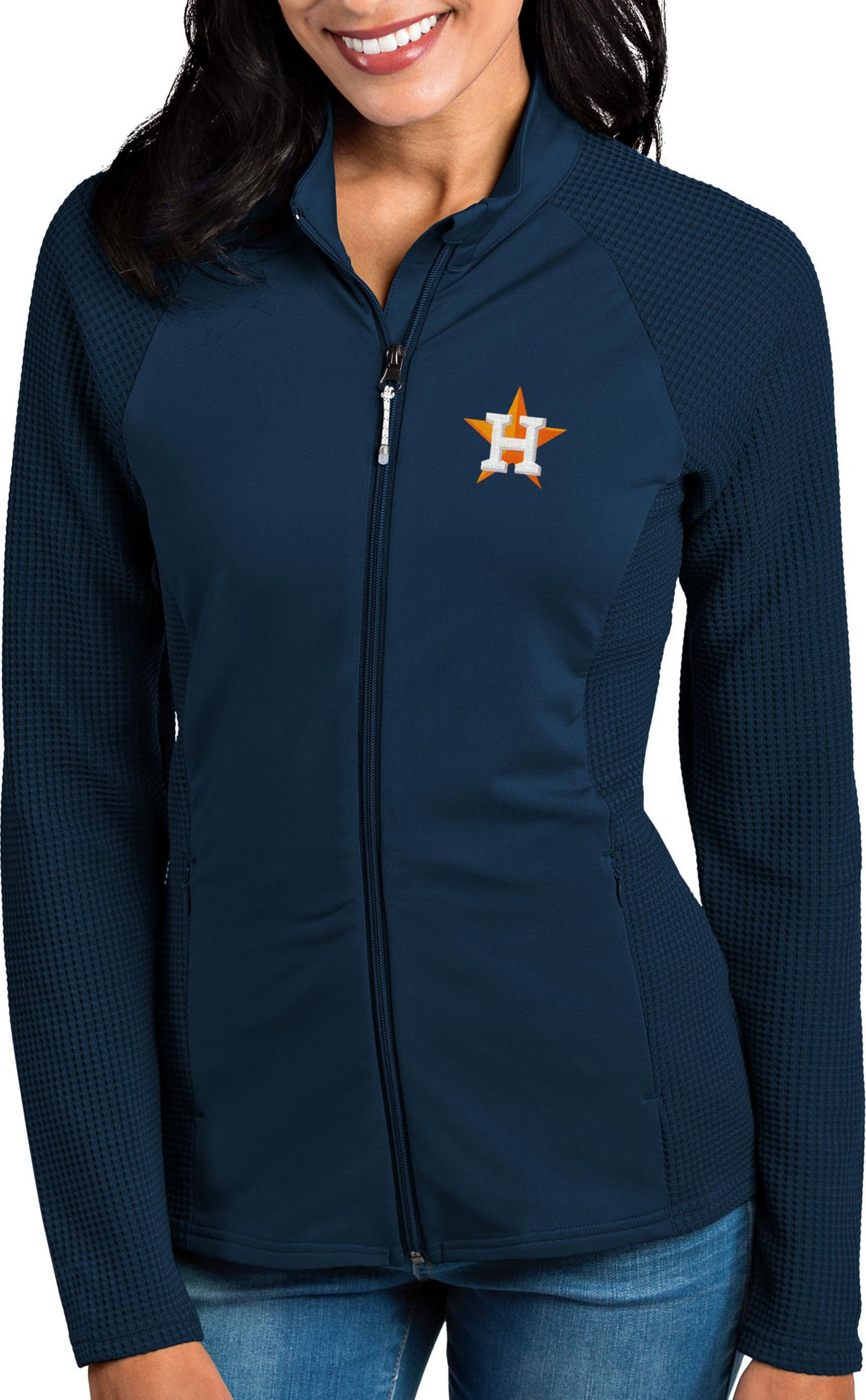 Antigua Women's Houston Astros Navy Sonar Performance Quarter-Zip Pullover