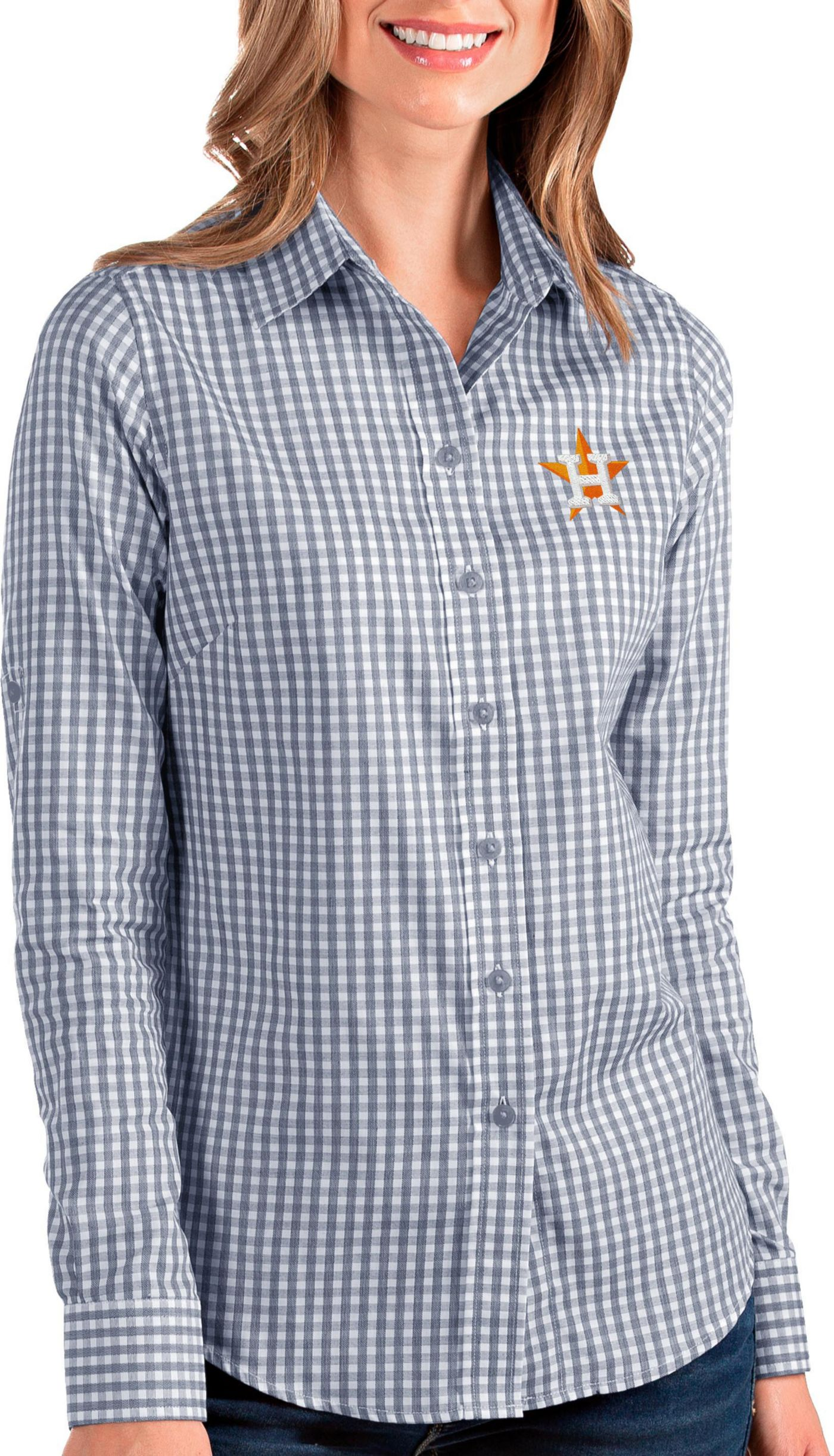 Antigua Women's Houston Astros Structure Button-Up Navy Long Sleeve Shirt