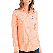 Antigua Women's Houston Astros Structure Button-Up Orange Long Sleeve Shirt