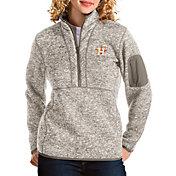 Antigua Women's Houston Astros Oatmeal Fortune Half-Zip Pullover