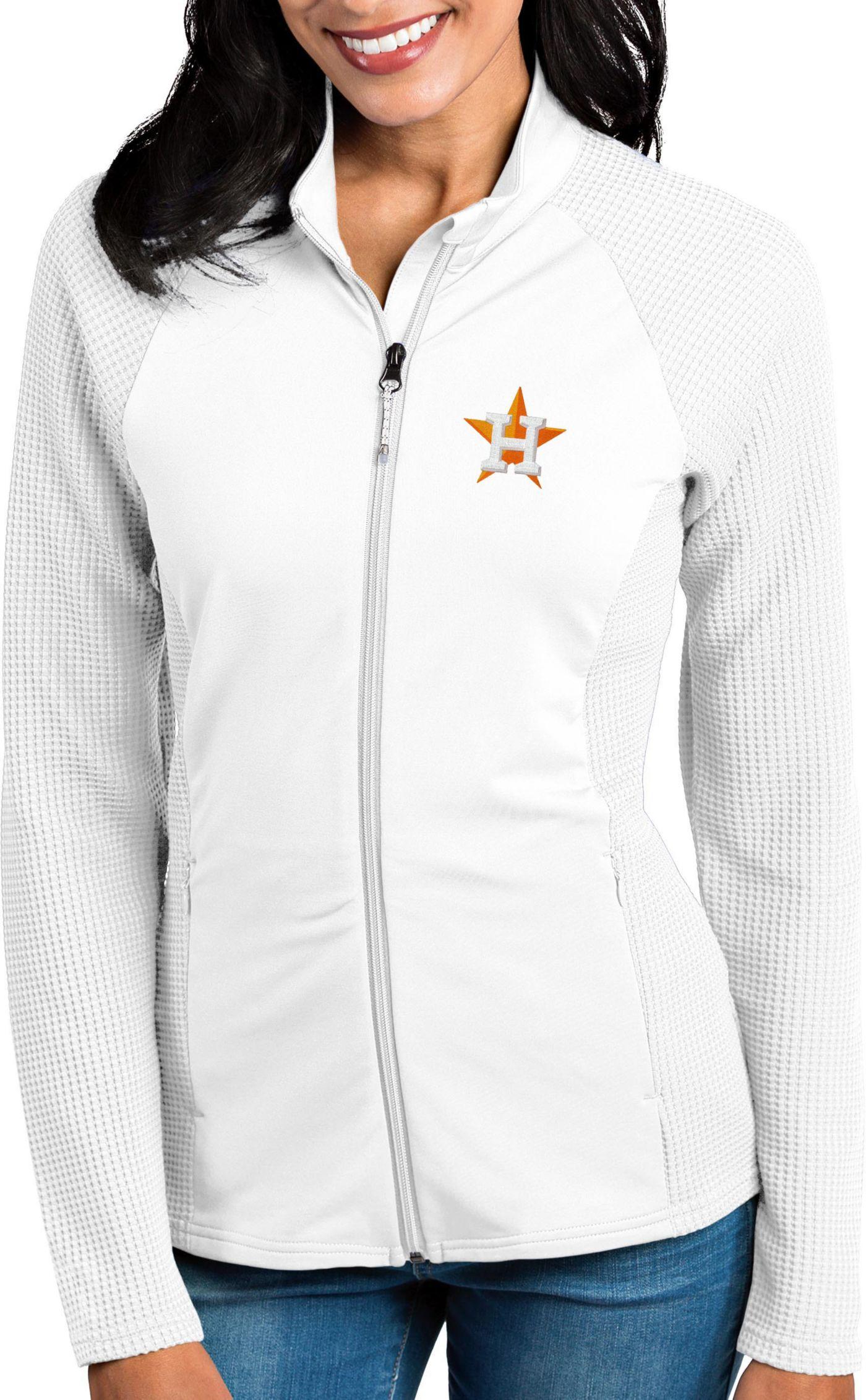 Antigua Women's Houston Astros White Sonar Performance Quarter-Zip Pullover