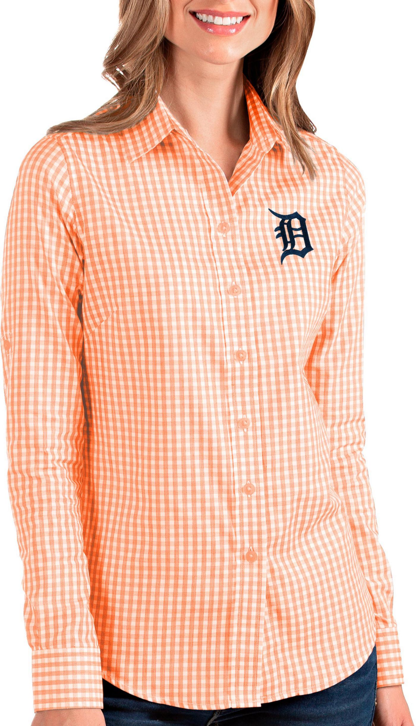 Antigua Women's Detroit Tigers Structure Button-Up Orange Long Sleeve Shirt