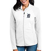 Antigua Women's Detroit Tigers White Sonar Performance Quarter-Zip Pullover