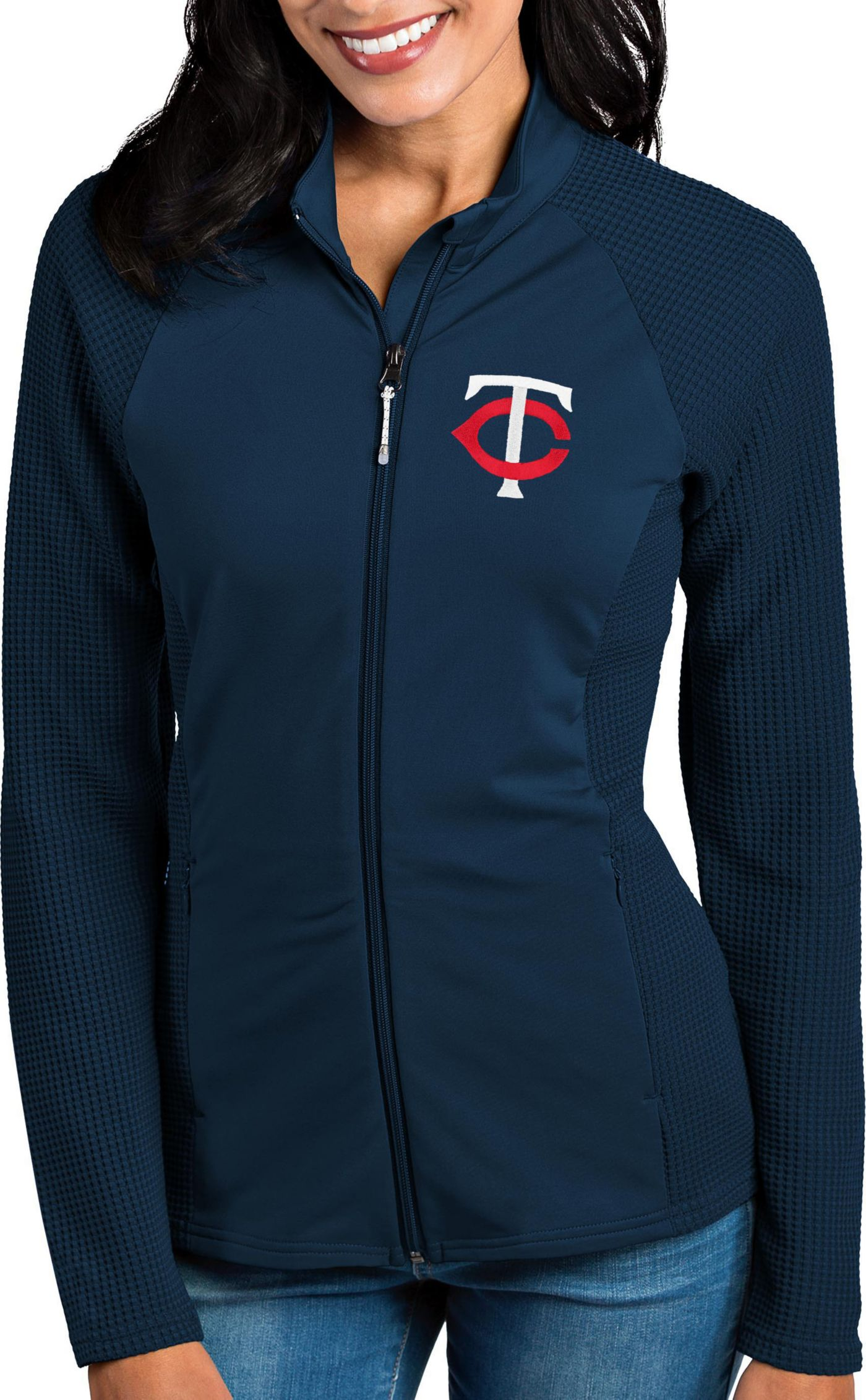 Antigua Women's Minnesota Twins Navy Sonar Performance Quarter-Zip Pullover