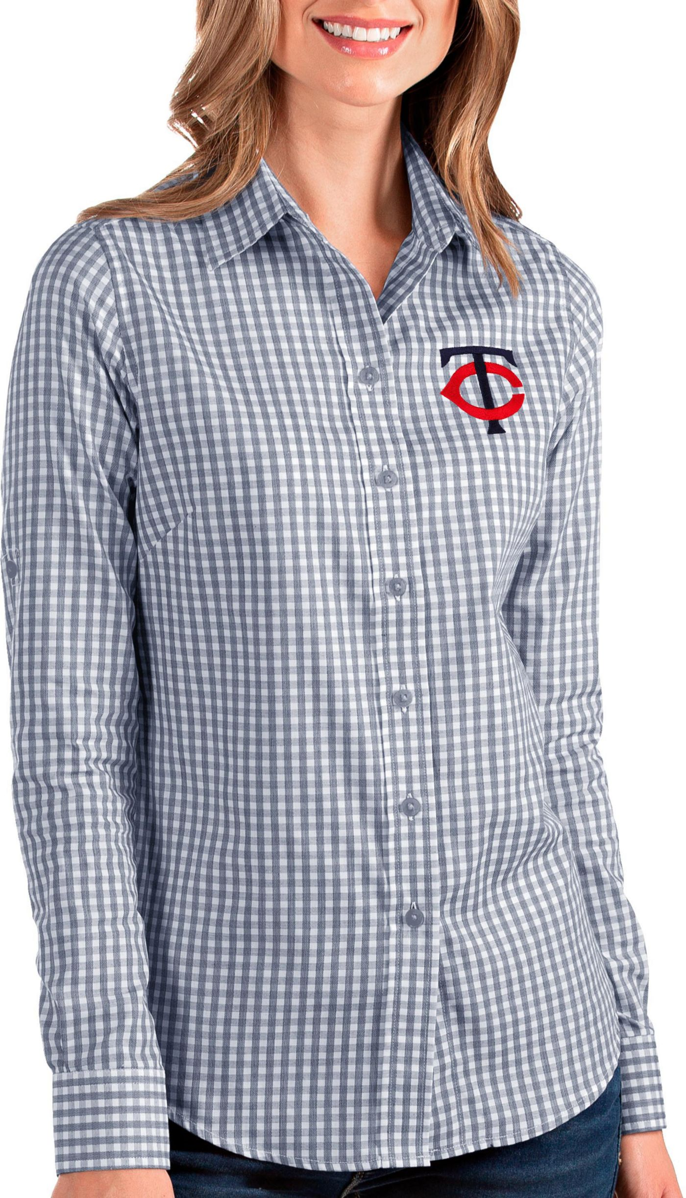 Antigua Women's Minnesota Twins Structure Button-Up Navy Long Sleeve Shirt
