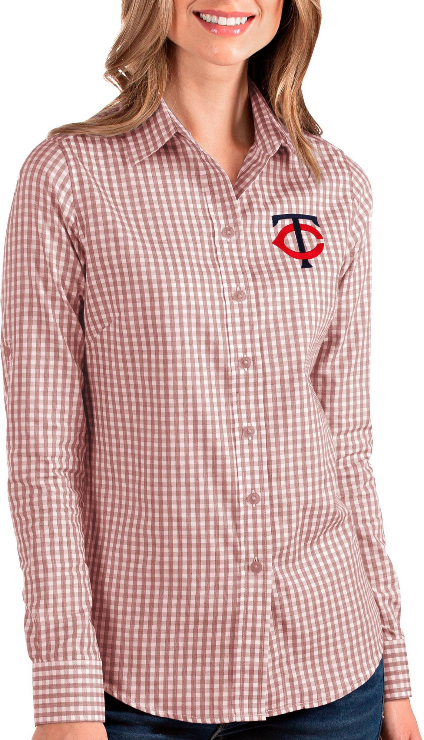 Antigua Women's Minnesota Twins Structure Button-Up Red Long Sleeve Shirt