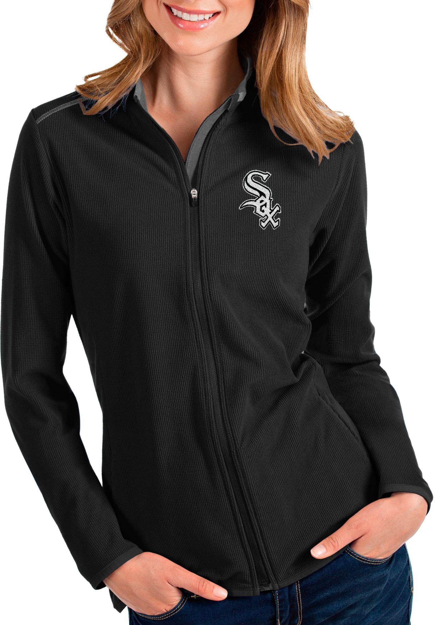 Antigua Women's Chicago White Sox Black Glacier Quarter-Zip Pullover