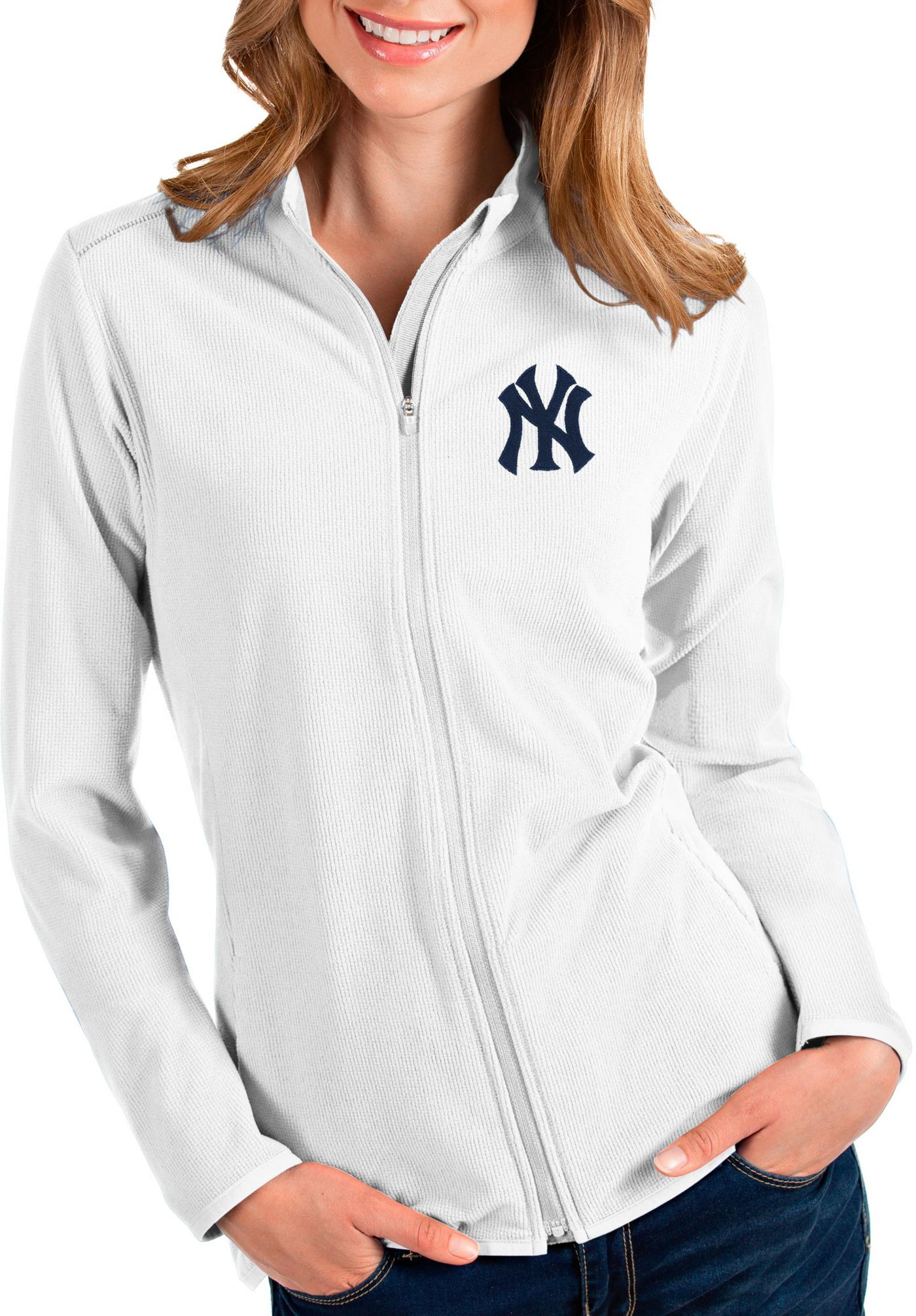 Antigua Women's New York Yankees White Glacier Quarter-Zip Pullover