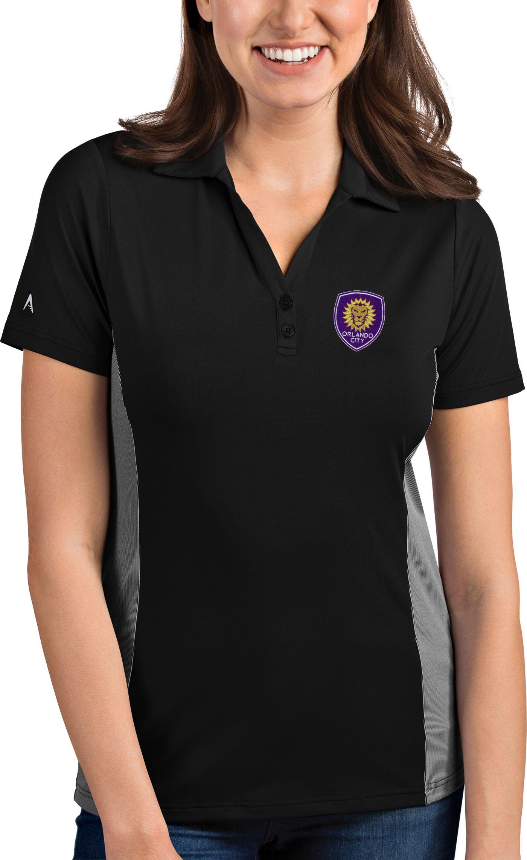 Antigua Women's Orlando City Venture Black Polo