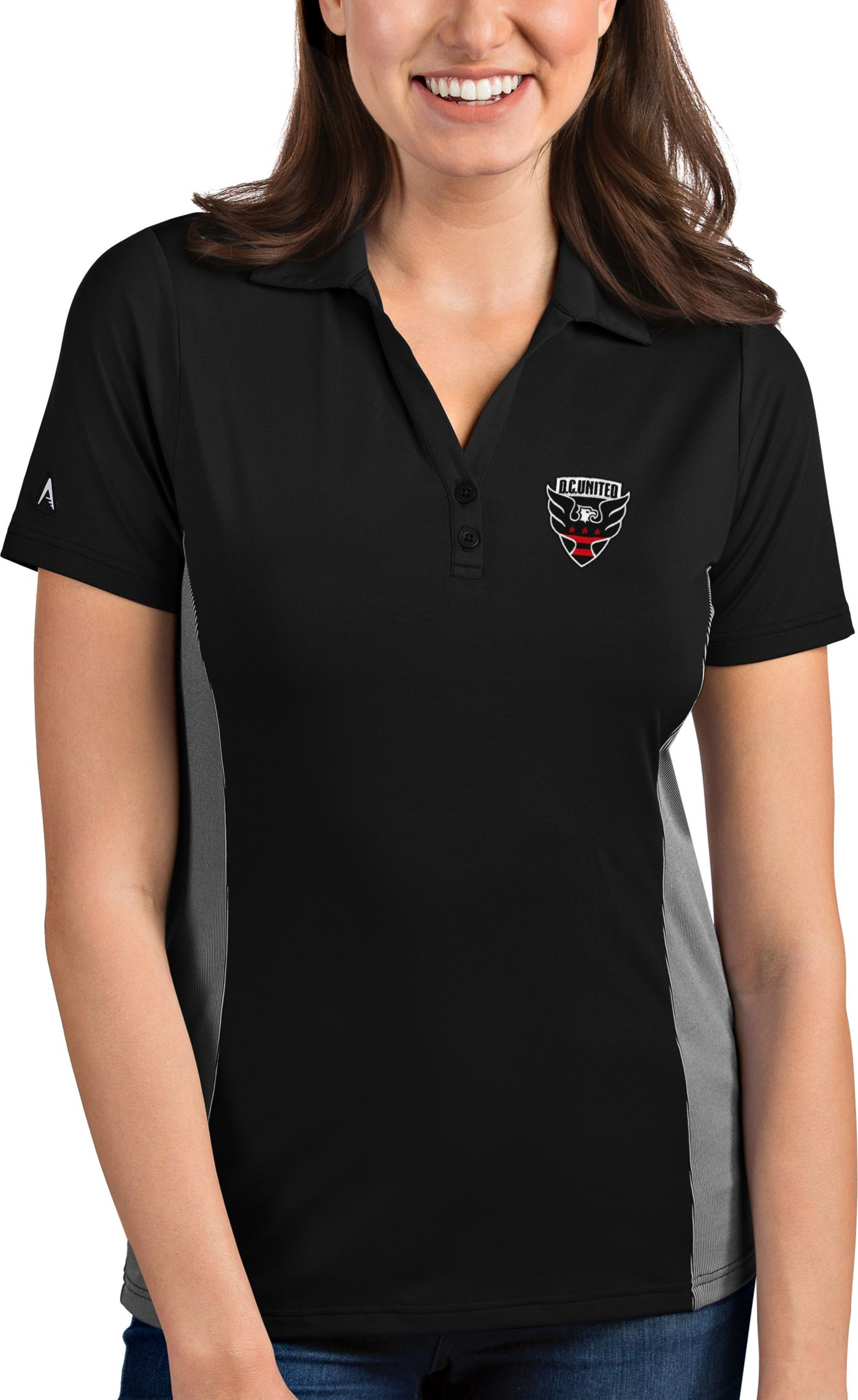 Antigua Women's D.C. United Venture Black Polo