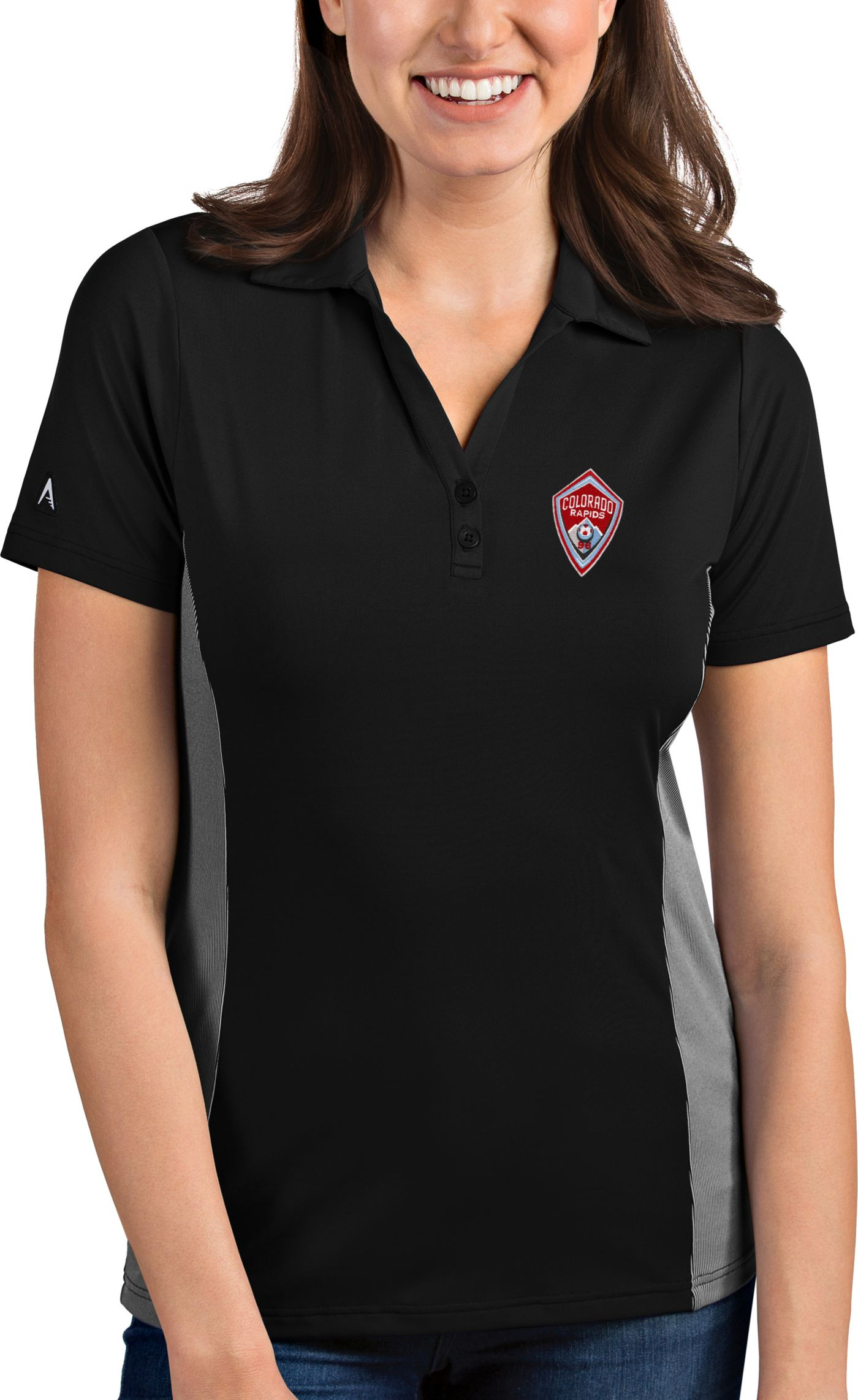 Antigua Women's Colorado Rapids Venture Black Polo