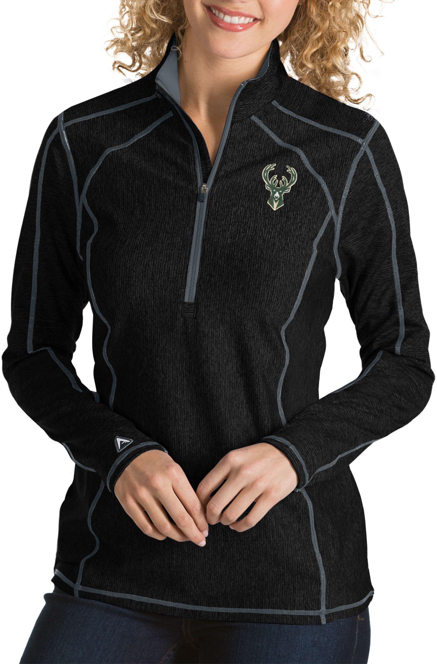 Antigua Women's Milwaukee Bucks Tempo Quarter-Zip Pullover