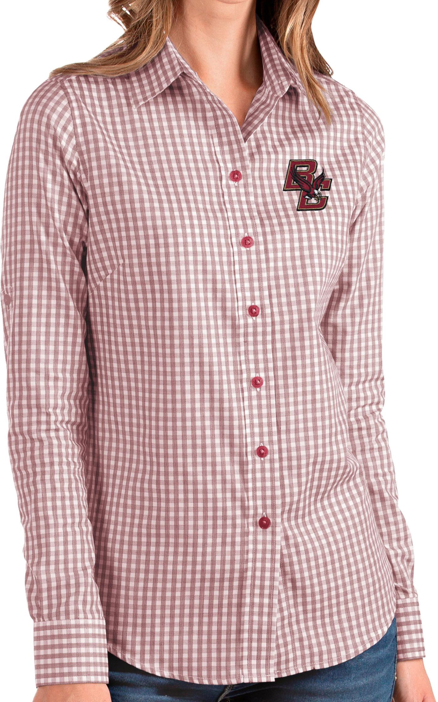 Antigua Women's Boston College Eagles Maroon Structure Button Down Long Sleeve Shirt