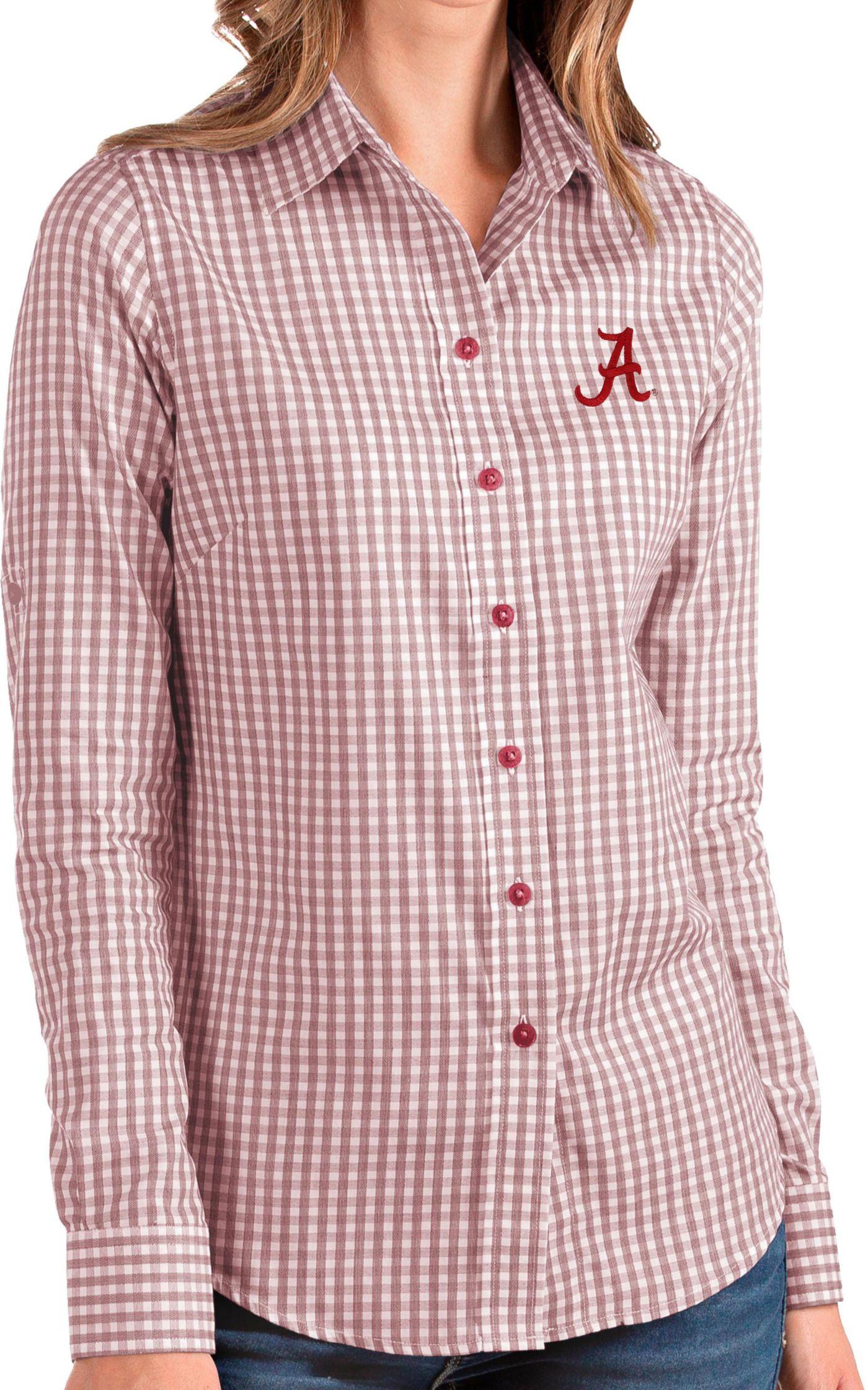 Antigua Women's Alabama Crimson Tide Crimson Structure Button Down Long Sleeve Shirt